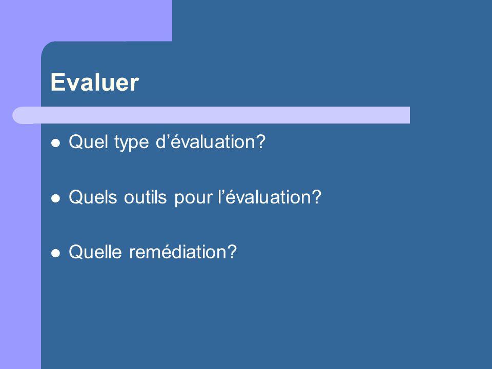 Evaluer Quel type d'évaluation Quels outils pour l'évaluation