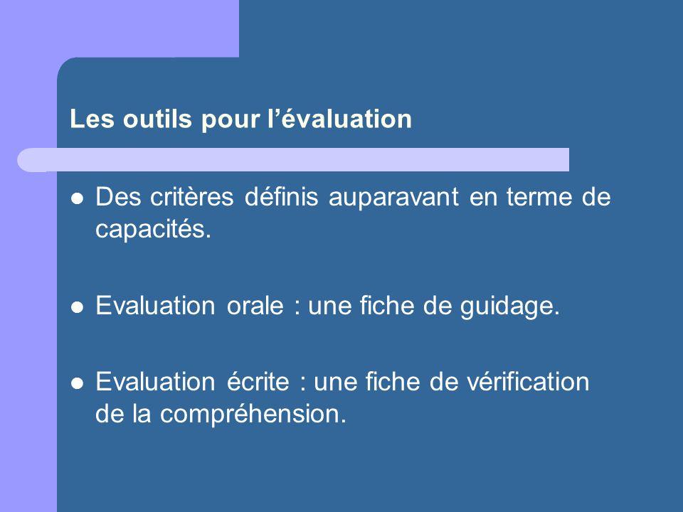 Les outils pour l'évaluation