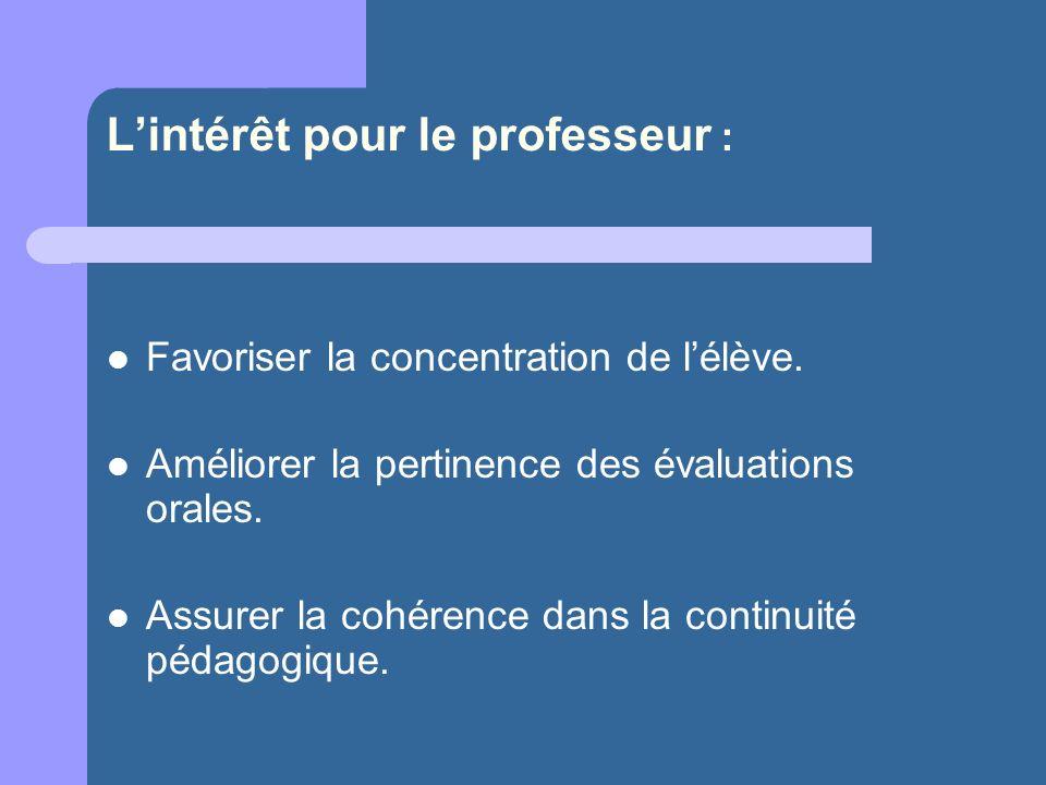 L'intérêt pour le professeur :