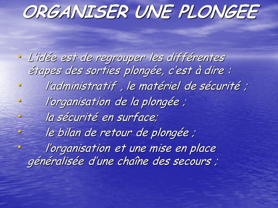 ORGANISER UNE PLONGEE L'idée est de regrouper les différentes étapes des sorties plongée, c'est à dire :