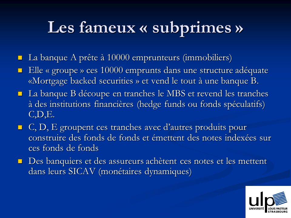 Les fameux « subprimes »