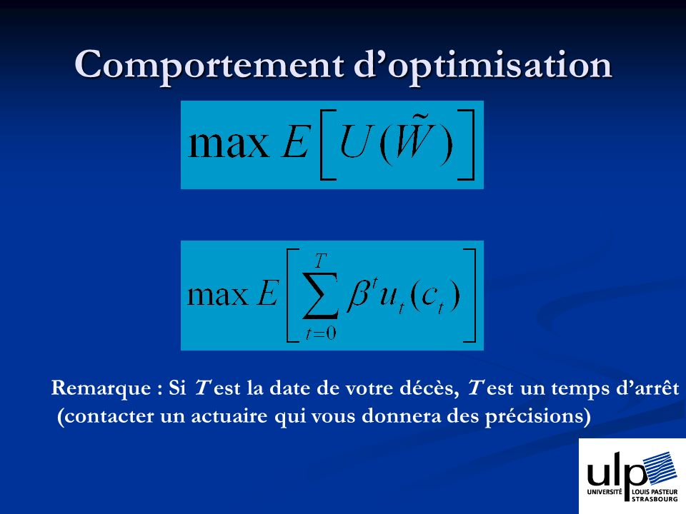 Comportement d'optimisation