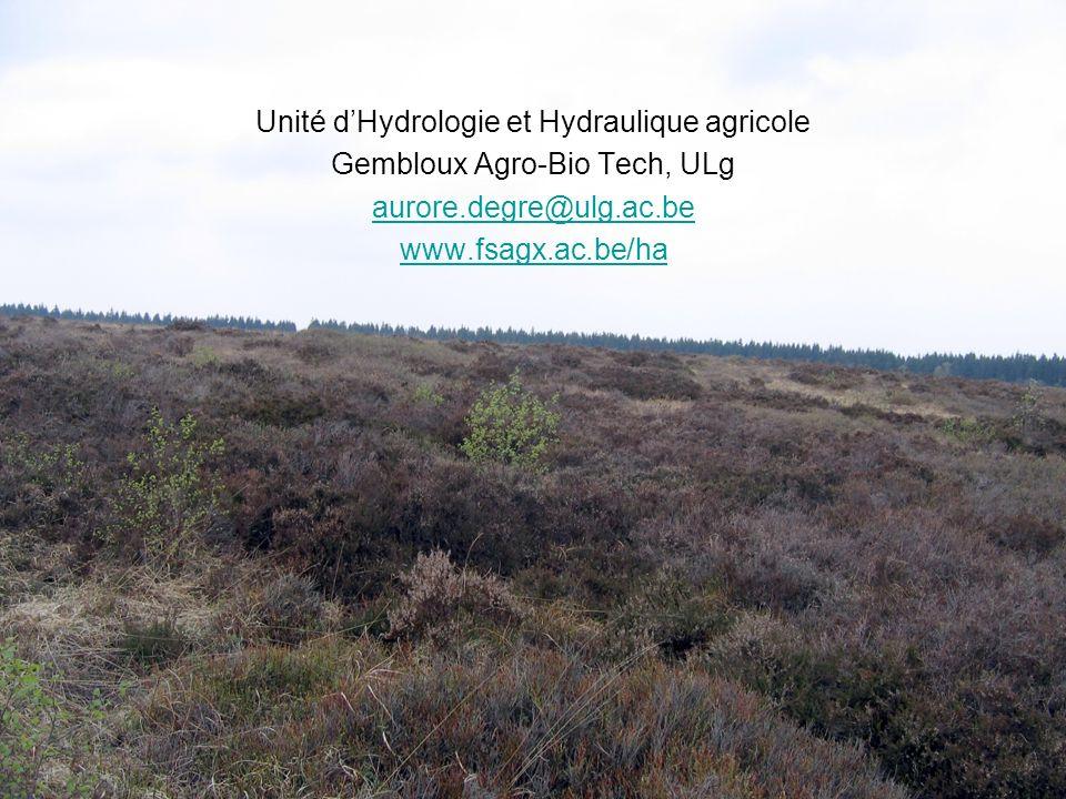 Unité d'Hydrologie et Hydraulique agricole Gembloux Agro-Bio Tech, ULg