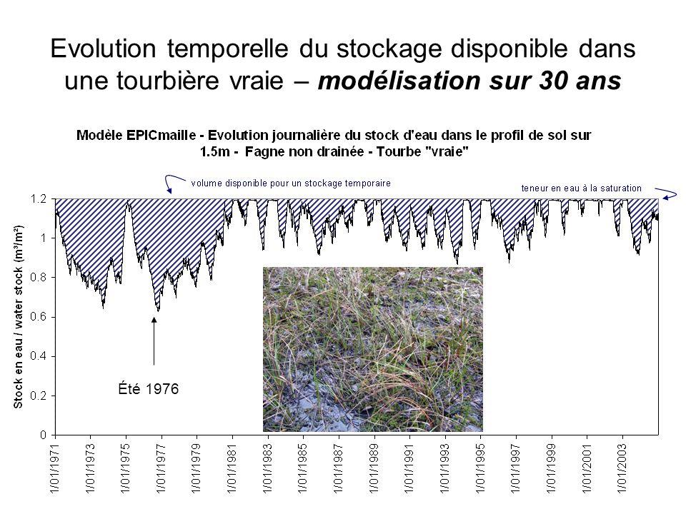 Evolution temporelle du stockage disponible dans une tourbière vraie – modélisation sur 30 ans