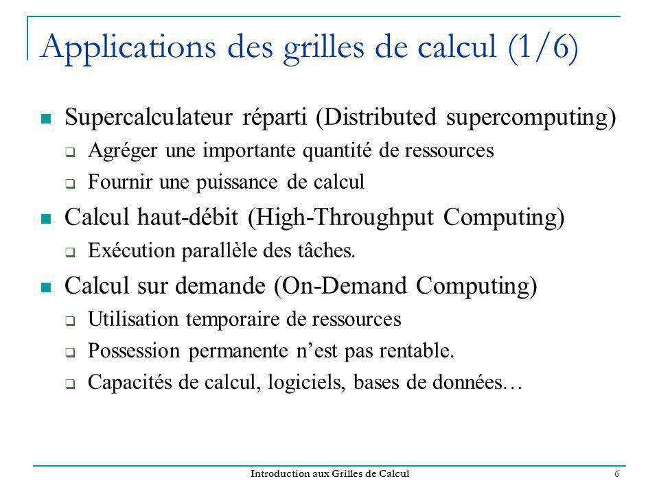 Applications des grilles de calcul (1/6)