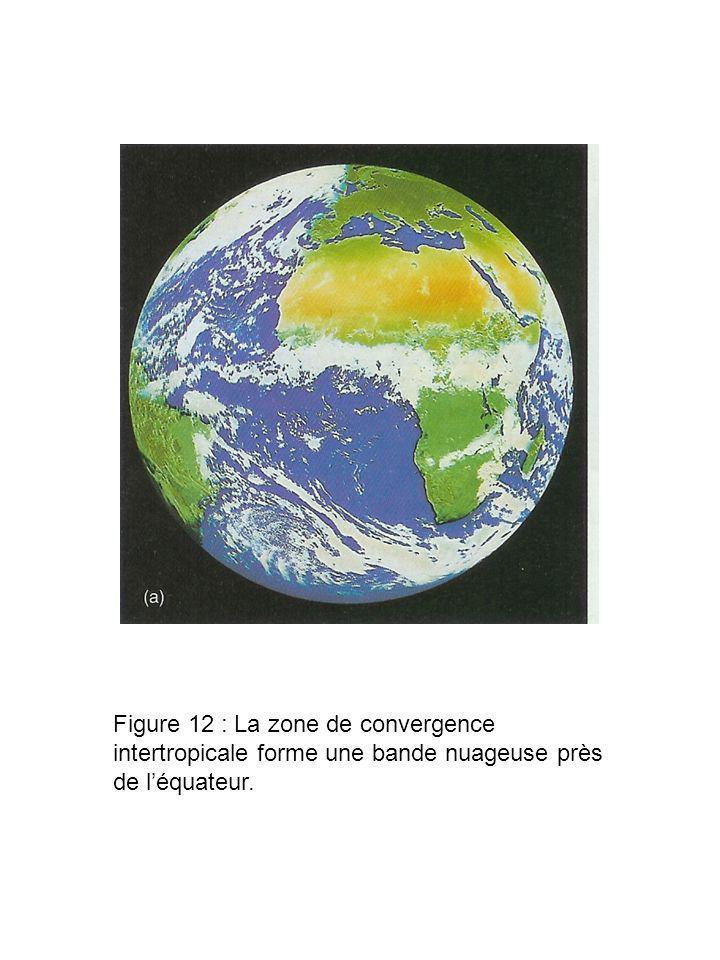 Figure 12 : La zone de convergence intertropicale forme une bande nuageuse près de l'équateur.