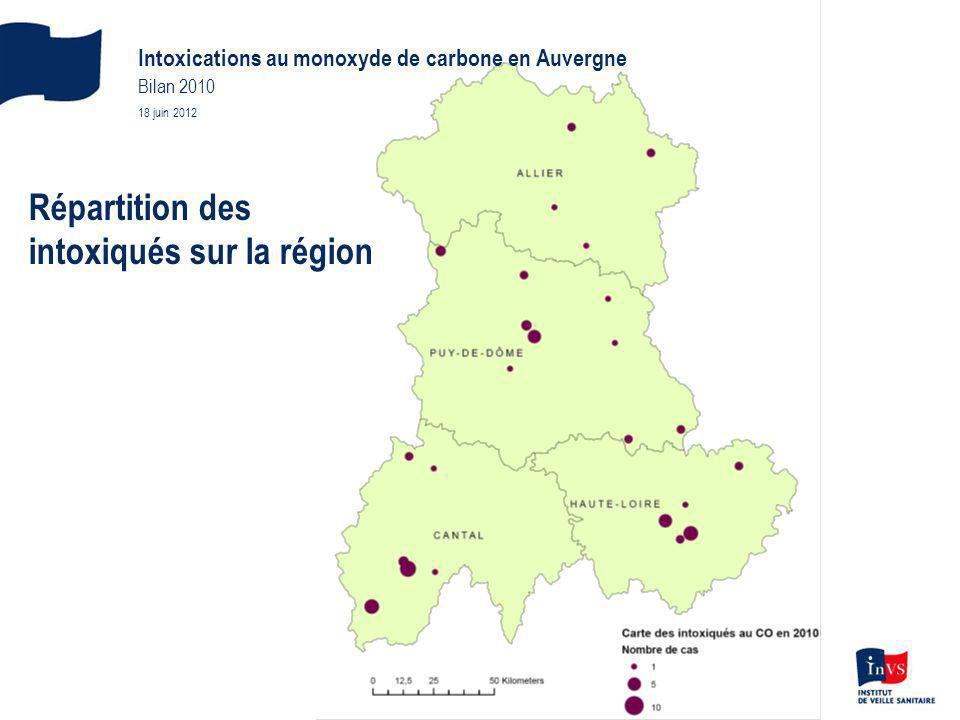 Répartition des intoxiqués sur la région