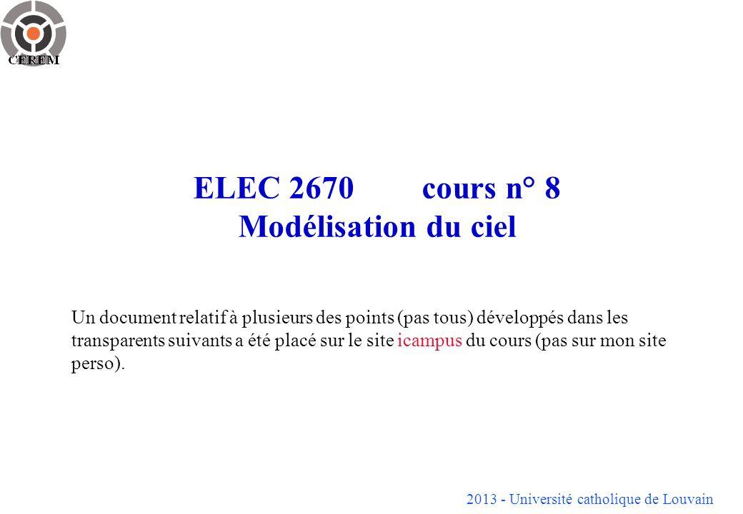 ELEC 2670 cours n° 8 Modélisation du ciel