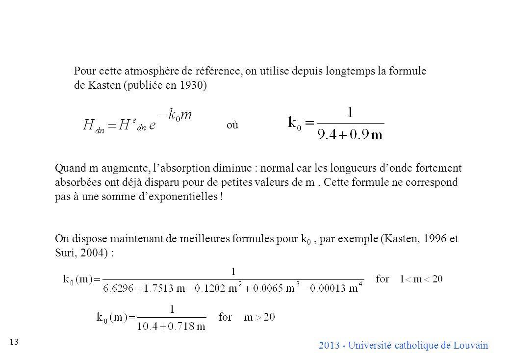 Pour cette atmosphère de référence, on utilise depuis longtemps la formule de Kasten (publiée en 1930)