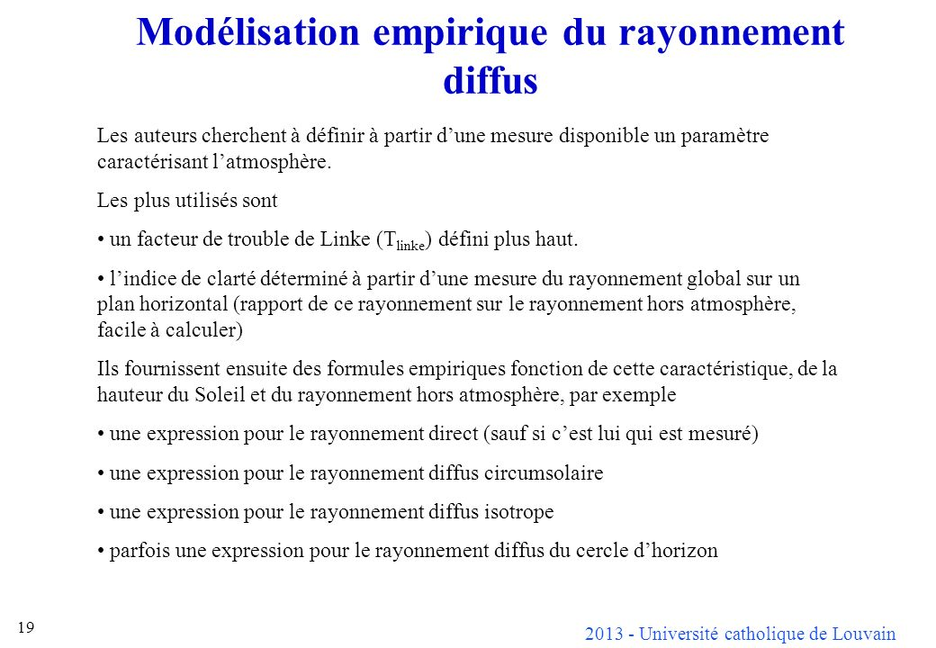 Modélisation empirique du rayonnement diffus