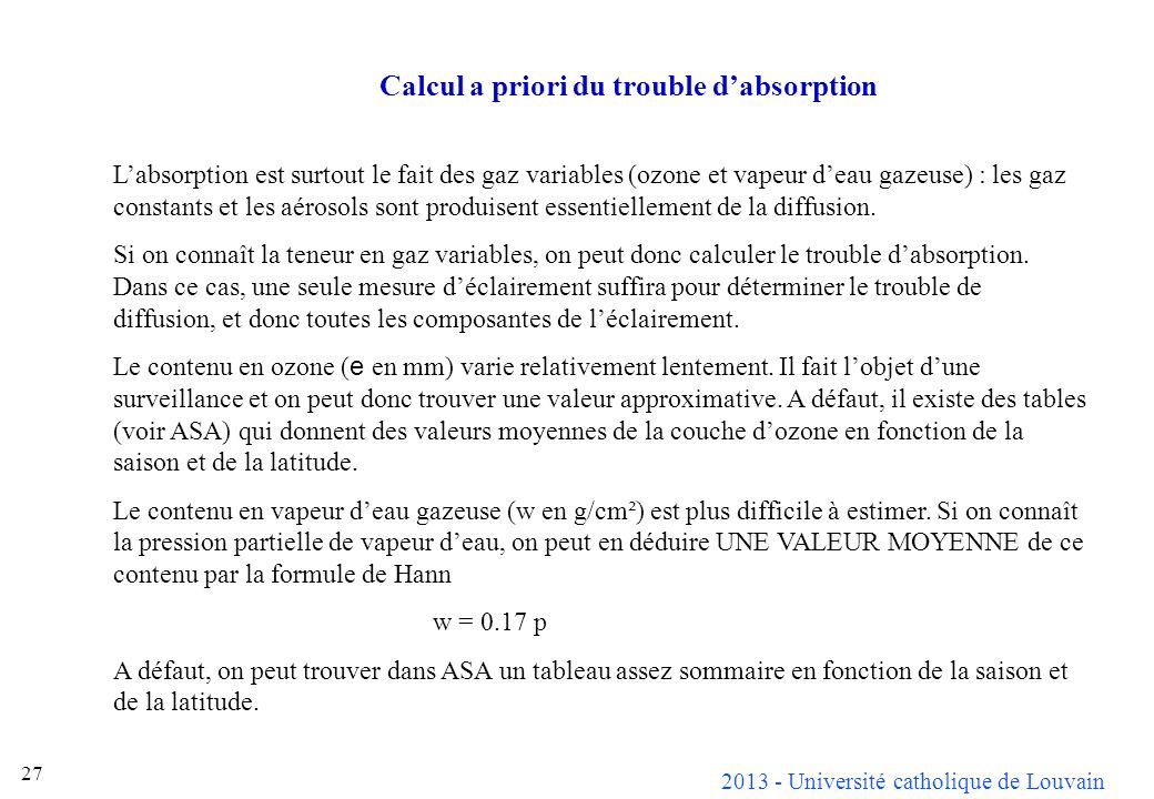 Calcul a priori du trouble d'absorption