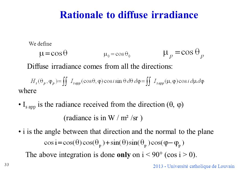 Rationale to diffuse irradiance