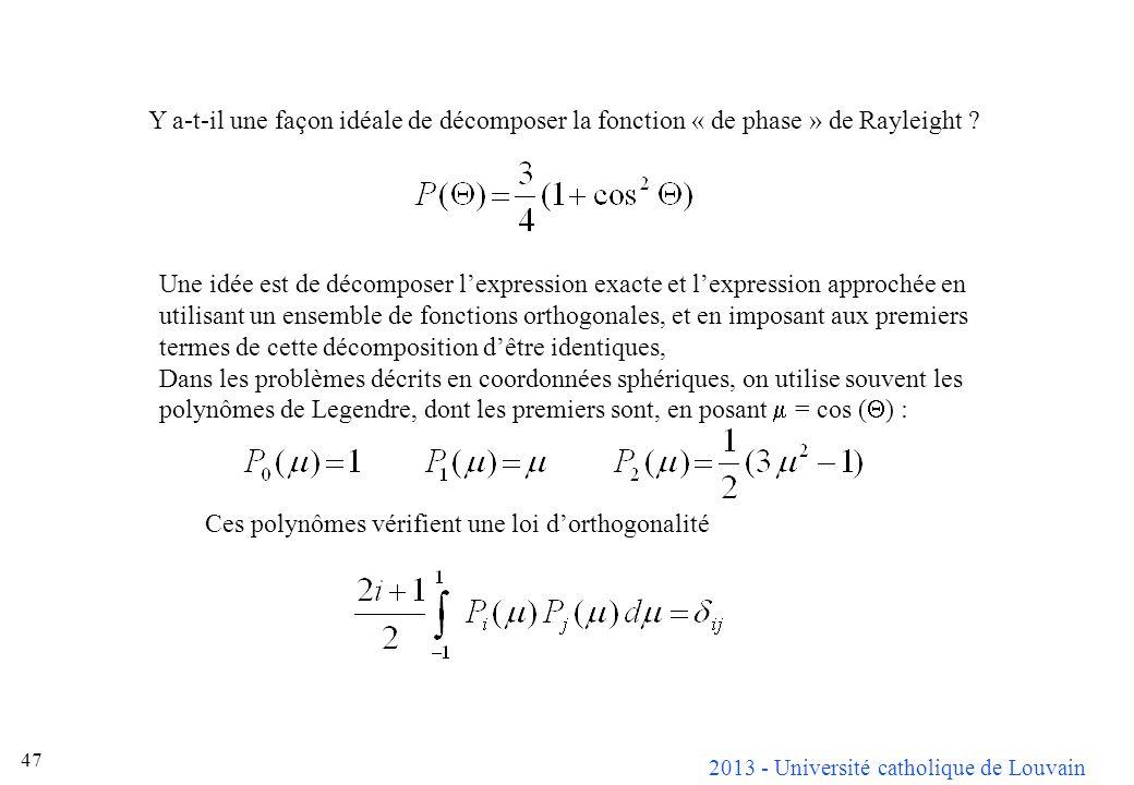 Y a-t-il une façon idéale de décomposer la fonction « de phase » de Rayleight