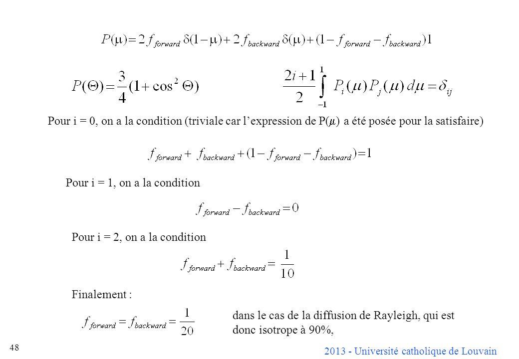 Pour i = 0, on a la condition (triviale car l'expression de P(m) a été posée pour la satisfaire)