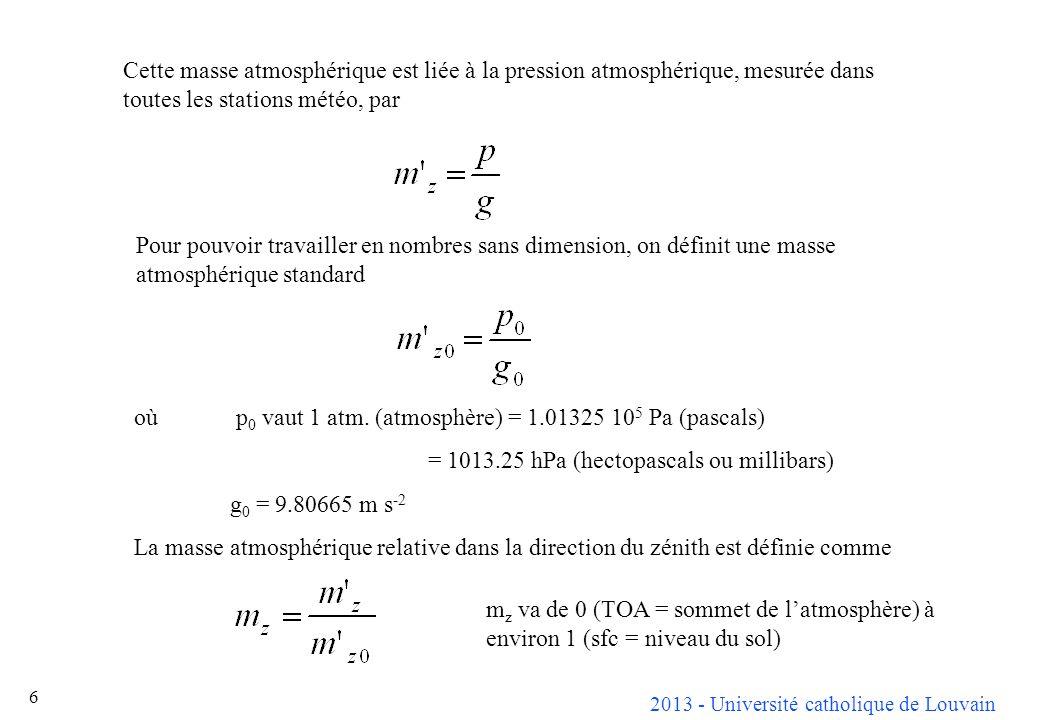 Cette masse atmosphérique est liée à la pression atmosphérique, mesurée dans toutes les stations météo, par
