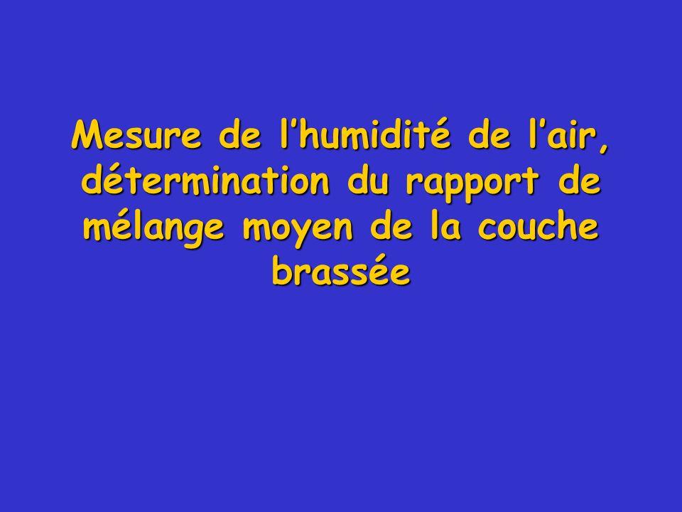 Mesure de l'humidité de l'air, détermination du rapport de mélange moyen de la couche brassée