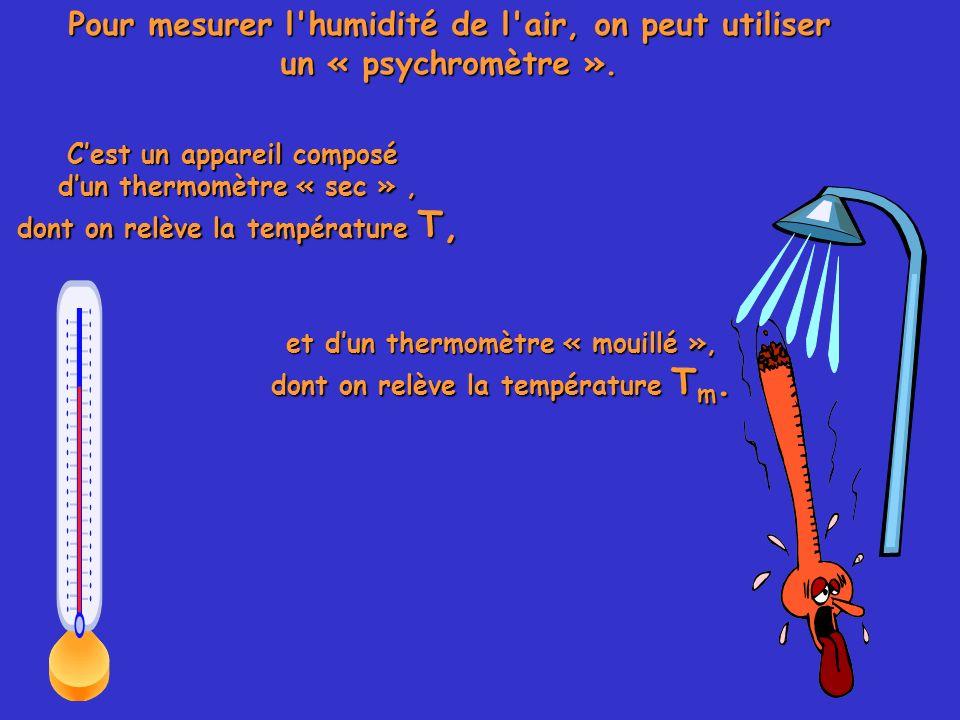 Pour mesurer l humidité de l air, on peut utiliser un « psychromètre ».
