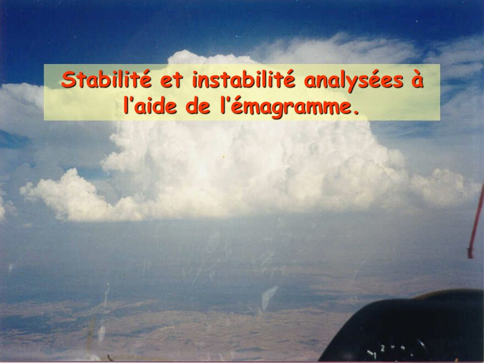 Stabilité et instabilité analysées à l'aide de l'émagramme.