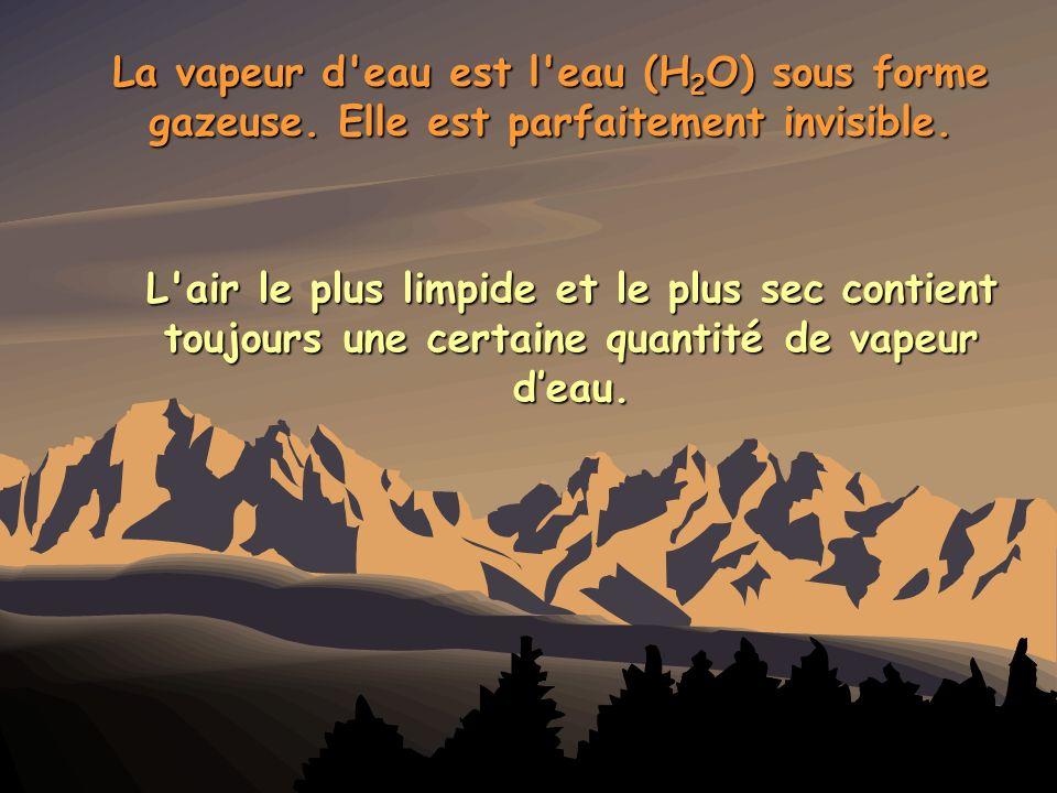 La vapeur d eau est l eau (H2O) sous forme gazeuse