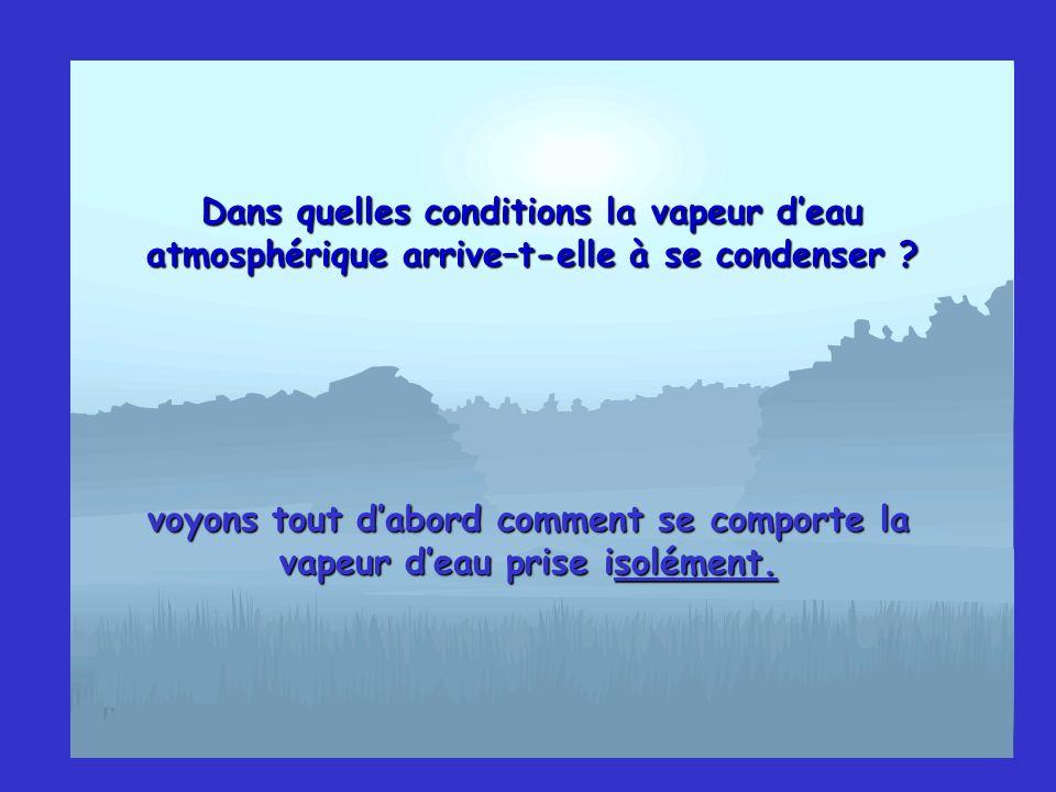 Dans quelles conditions la vapeur d'eau atmosphérique arrive–t-elle à se condenser