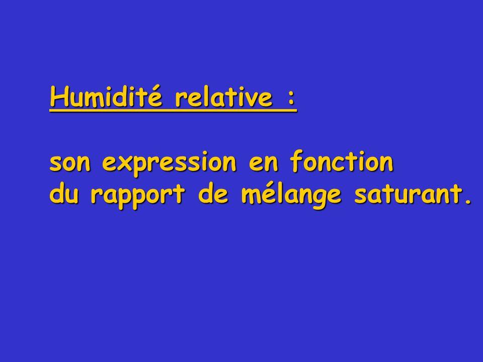 Humidité relative : son expression en fonction du rapport de mélange saturant.