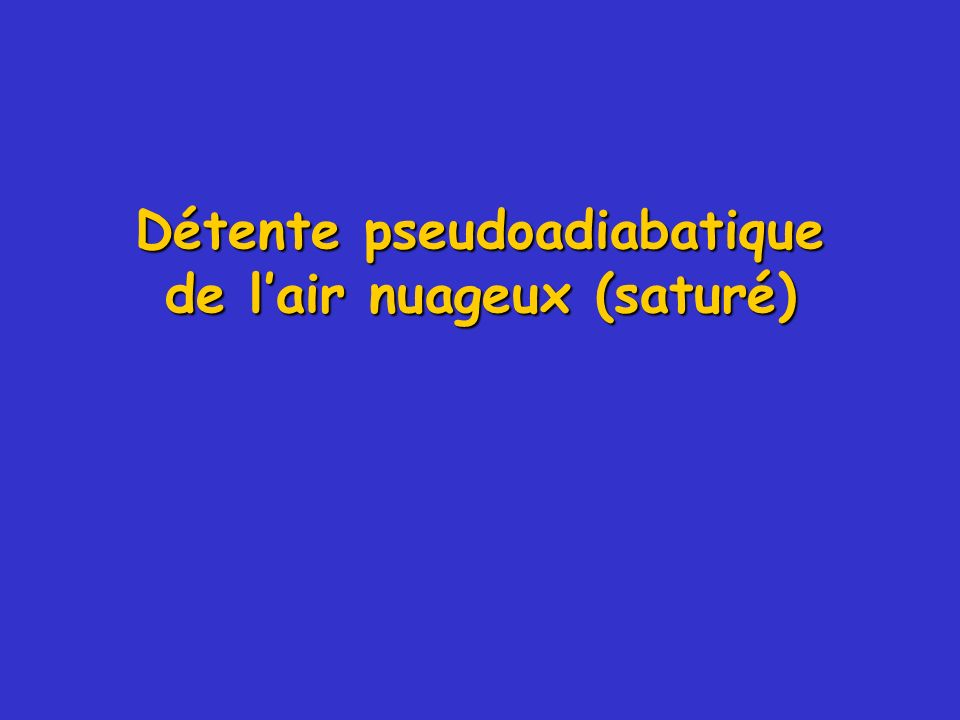 Détente pseudoadiabatique de l'air nuageux (saturé)