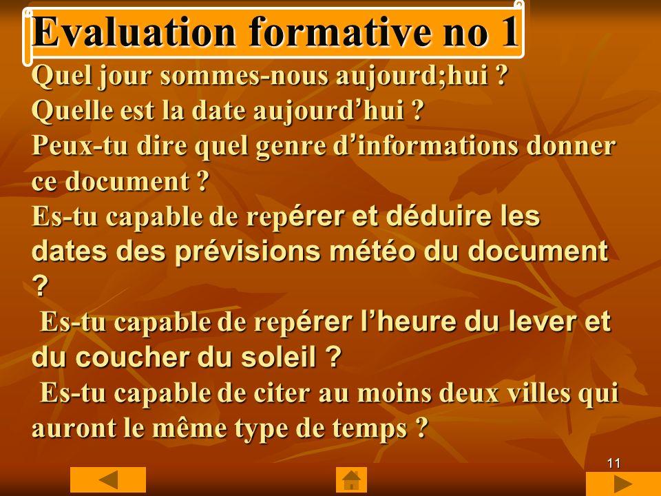 Evaluation formative no 1 Quel jour sommes-nous aujourd;hui