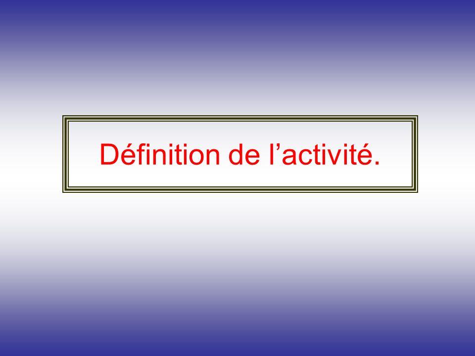 Définition de l'activité.