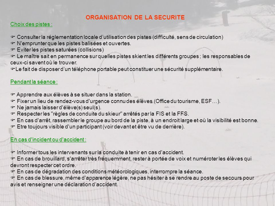 ORGANISATION DE LA SECURITE