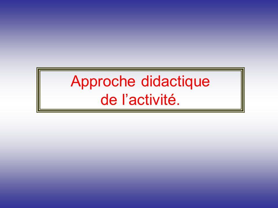 Approche didactique de l'activité.