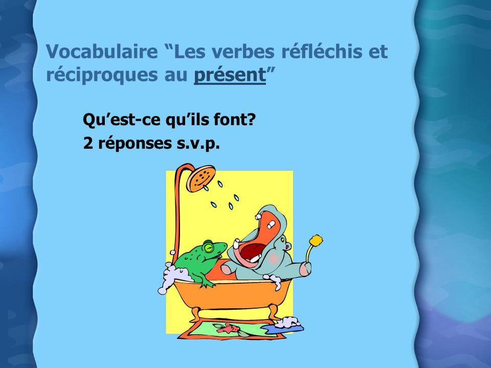 Vocabulaire Les verbes réfléchis et réciproques au présent
