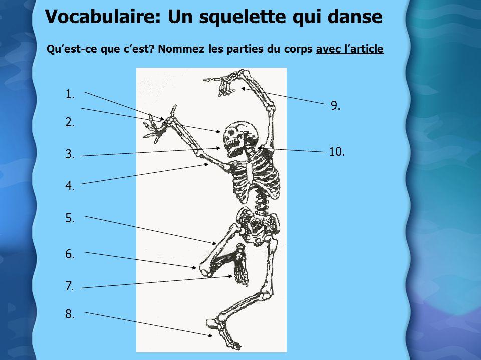 Vocabulaire: Un squelette qui danse