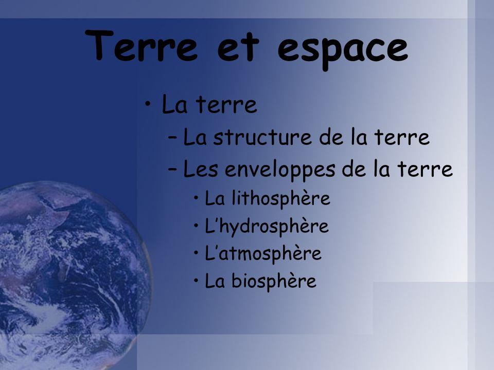 Terre et espace La terre La structure de la terre