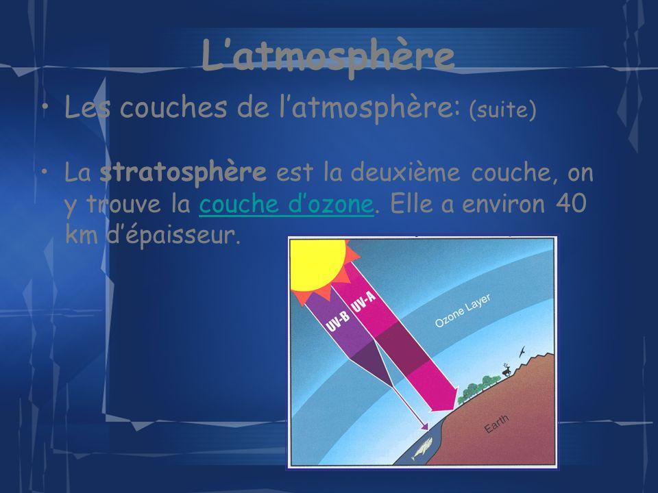 L'atmosphère Les couches de l'atmosphère: (suite)