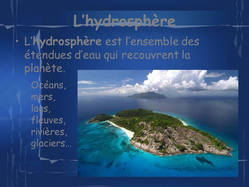 L'hydrosphère L'hydrosphère est l'ensemble des étendues d'eau qui recouvrent la planète.