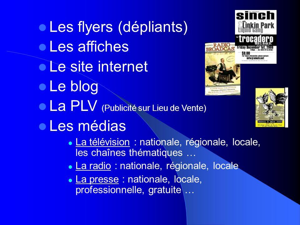 Les flyers (dépliants) Les affiches Le site internet Le blog