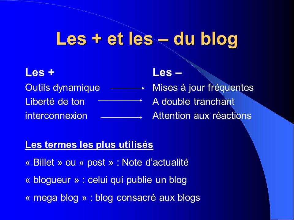 Les + et les – du blog Les + Les – Outils dynamique Liberté de ton