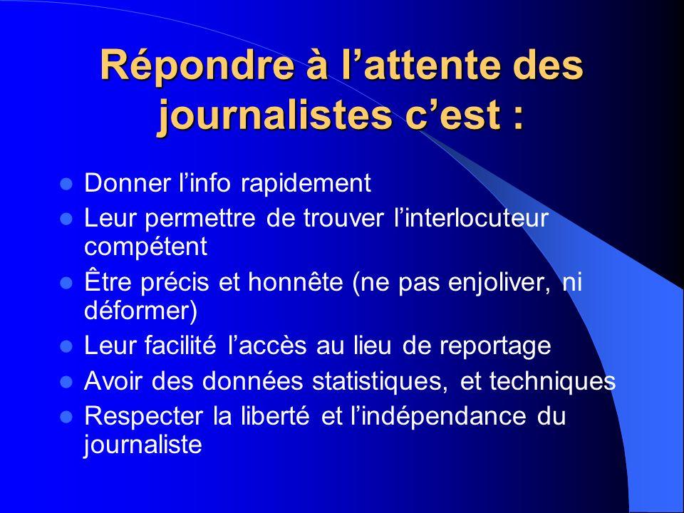 Répondre à l'attente des journalistes c'est :
