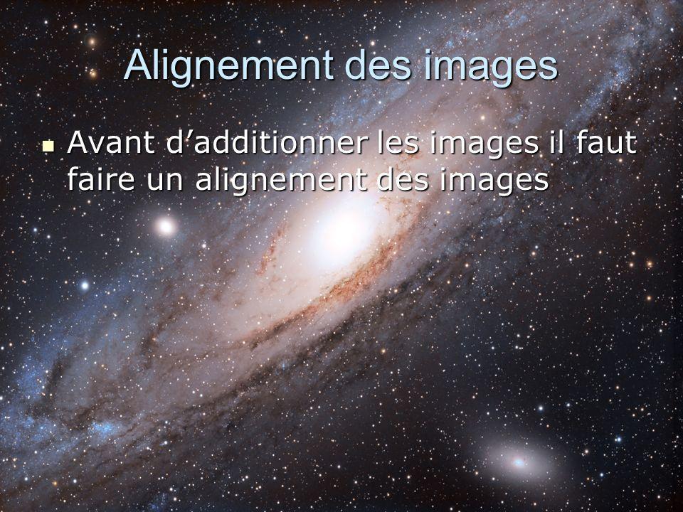 Alignement des images Avant d'additionner les images il faut faire un alignement des images