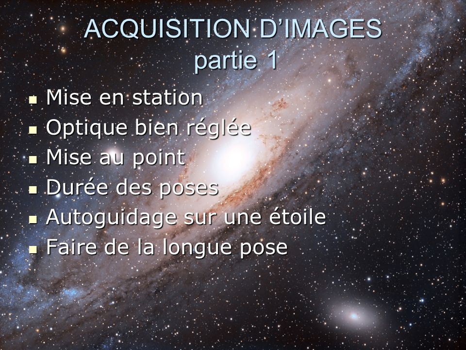 ACQUISITION D'IMAGES partie 1