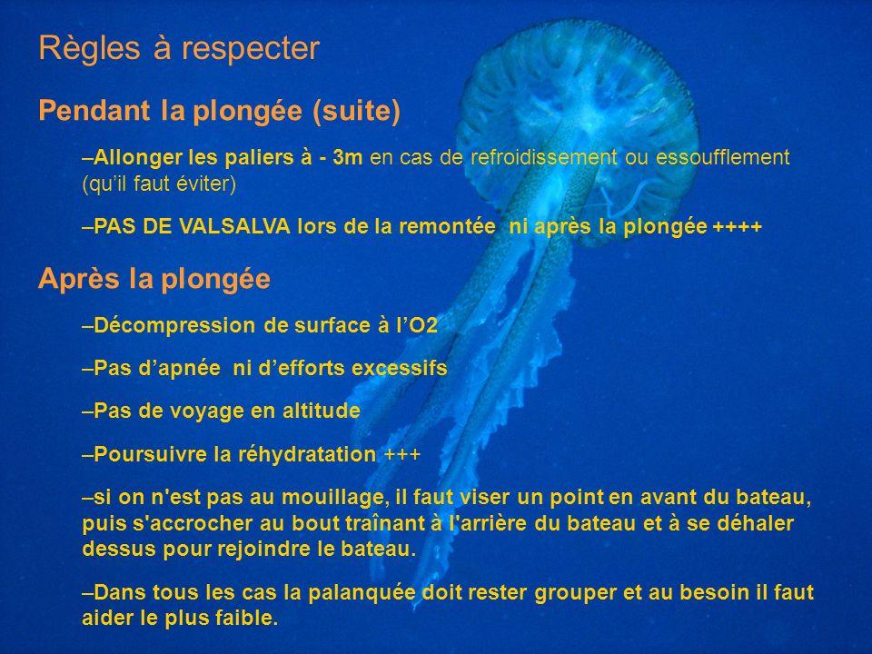 Règles à respecter Pendant la plongée (suite) Après la plongée