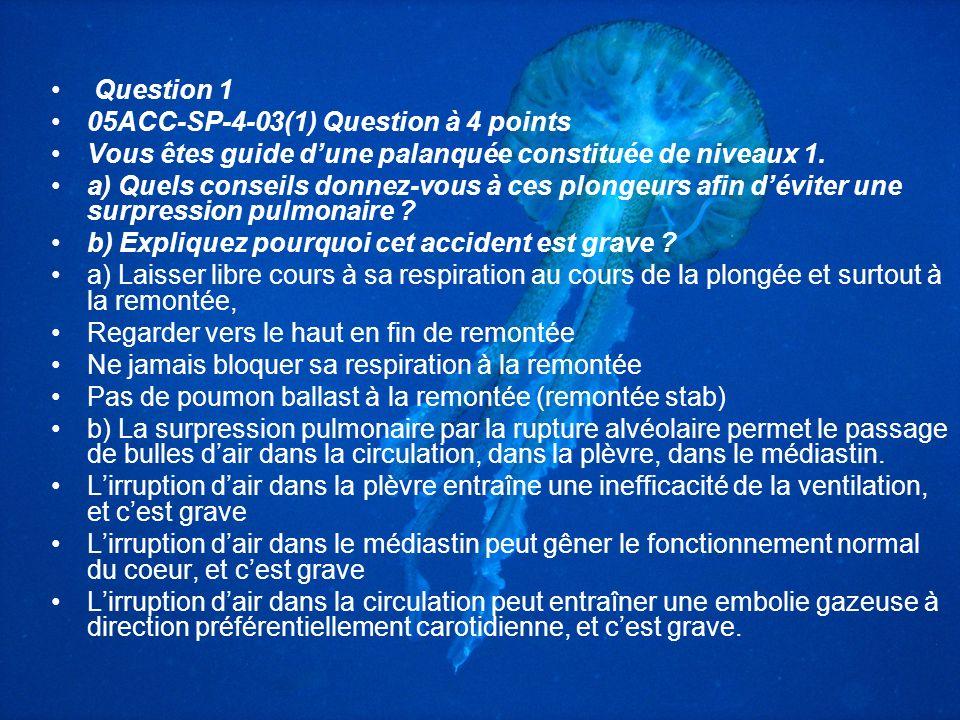Question 1 05ACC-SP-4-03(1) Question à 4 points. Vous êtes guide d'une palanquée constituée de niveaux 1.