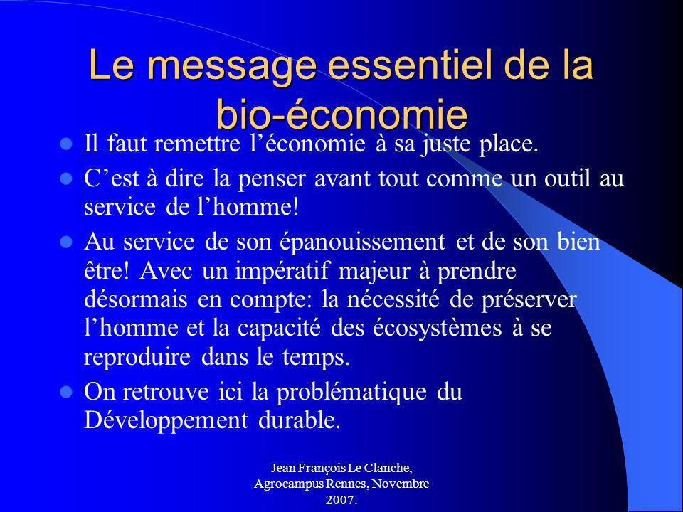 Le message essentiel de la bio-économie
