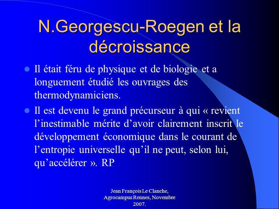 N.Georgescu-Roegen et la décroissance