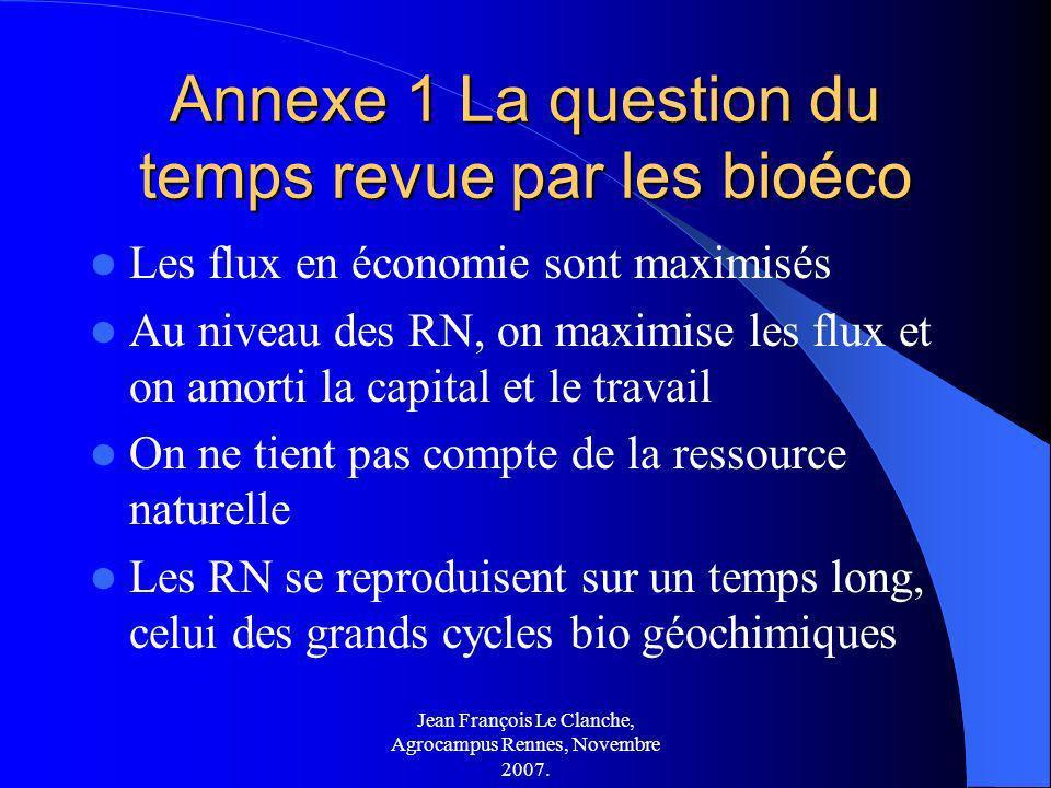 Annexe 1 La question du temps revue par les bioéco