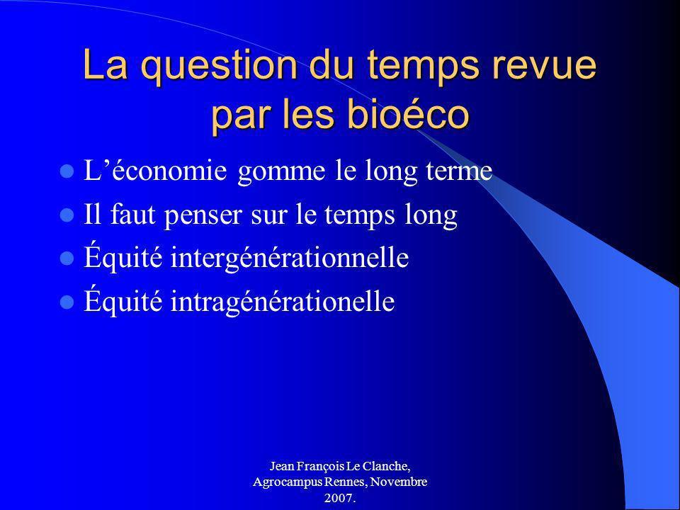 La question du temps revue par les bioéco