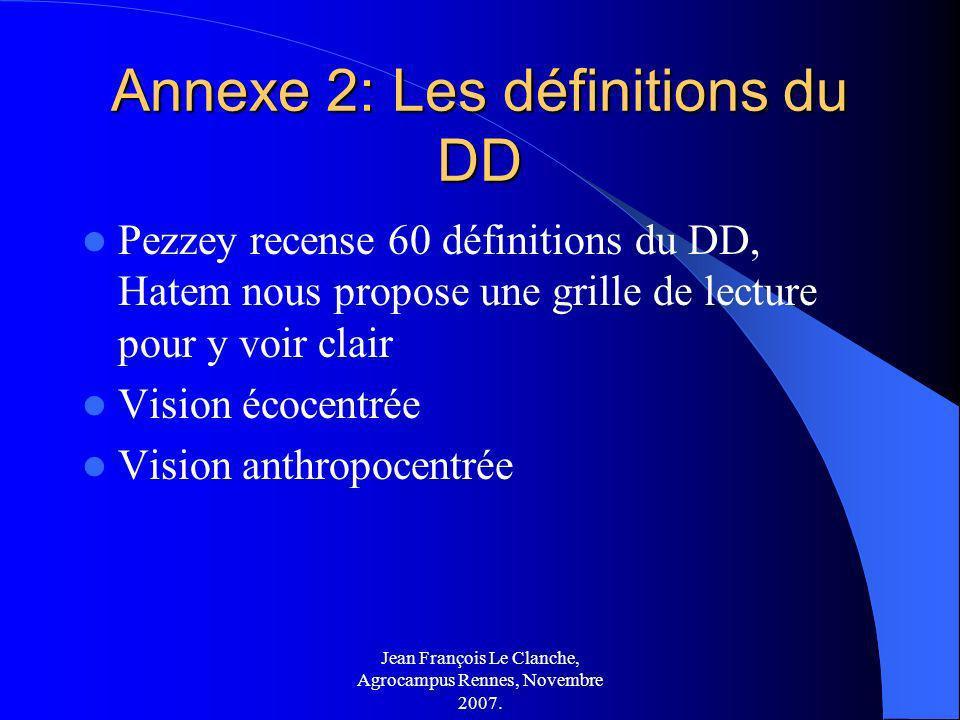 Annexe 2: Les définitions du DD