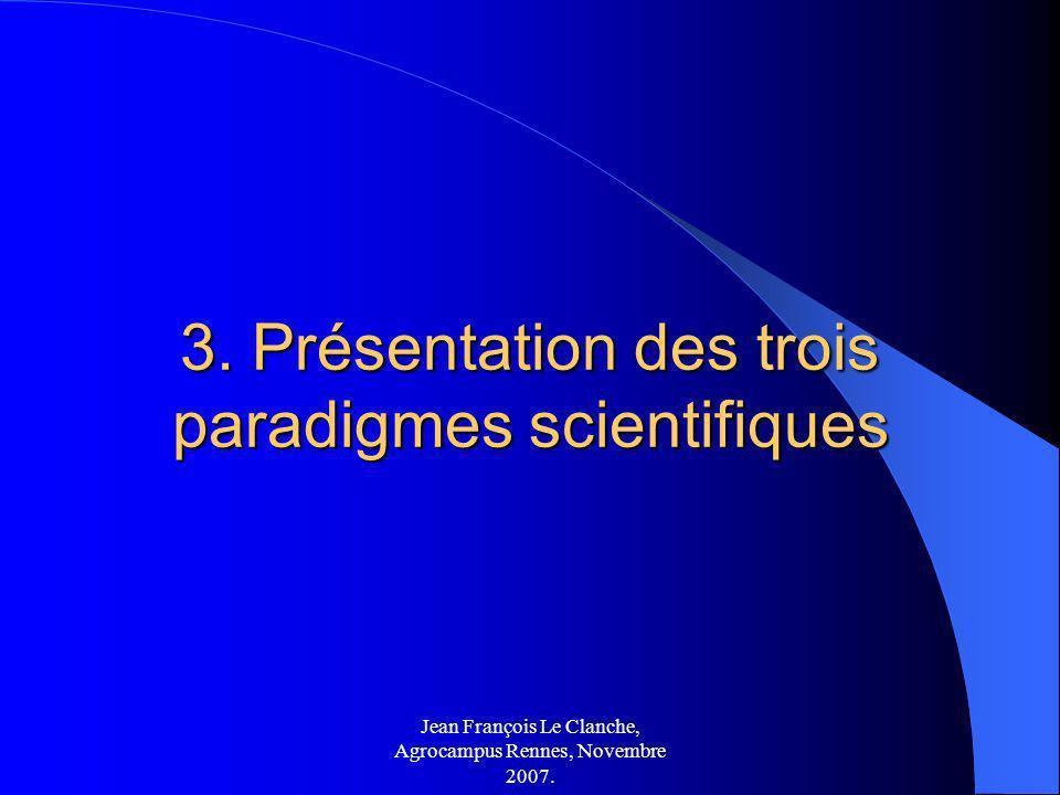 3. Présentation des trois paradigmes scientifiques