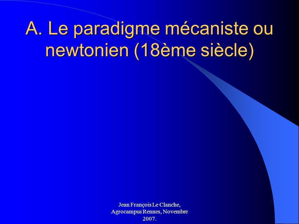 A. Le paradigme mécaniste ou newtonien (18ème siècle)