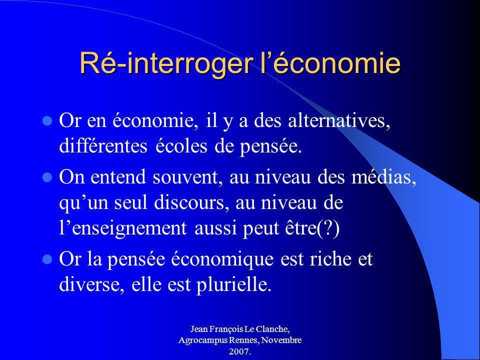 Ré-interroger l'économie